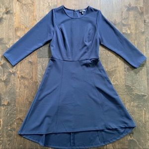 The Limited Navy High Low 3/4 Sleeve Dress
